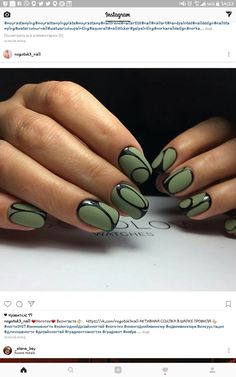 Short matte army green with high gloss black designed nails