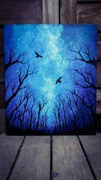 Custom Original Painting: sky painting, acrylic painting, space art, forest art, tree painting, original painting, bird art, silhouette