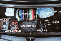 What you should have in your trunk. Check out my blog post to learn how to organize your car.