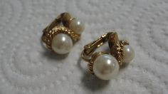 Double Simulated Pearl Goldtone Clip Earrings by tracisallymaxx