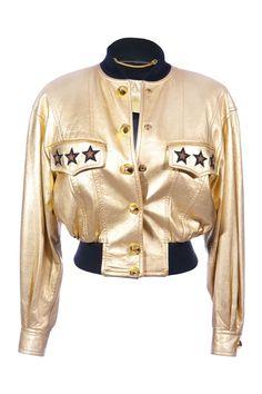 #Escada | Stylishe Vintage #Bomber-Jacke aus goldenem Leder, Gr. S-M | Escada | mymint-shop.com | Ihr Online Shop für #Secondhand / #Vintage #Designerkleidung & Accessoires bis zu -90% vom Neupreis das ganze Jahr #mymint