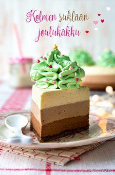 Kolmen suklaan kakku   Reseptit   Kinuskikissa Piece Of Cakes, Christmas Is Coming, Cheesecakes, Vanilla Cake, A Food, Frosting, Cake Decorating, Deserts, Dessert Recipes