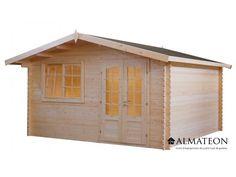 Chalet en sapin, de 17.30 m². Modèle : WW-69. Dimensions : 416 x 416 x 257 cm.