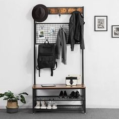 VASAGLE Industrial Coat Stand, Shoe Rack Bench with Grid Memo Board, 9 Hooks and Storage Shelves, Hall Tree with Stable Metal Frame, Rustic Brown Wood Storage Bench, Entryway Storage, Shoe Storage, Entryway Decor, Storage Shelves, Entryway Hall Tree, Rustic Hall Trees, Coat And Shoe Rack, Shoe Racks