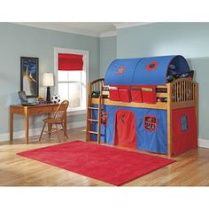 @Overstock - VP Home Lowell Junior Loft Honey Birch Twin Loft Bed - This twin-size lofted bed and tented play area will make your child's bedroom fun and comfortable. This lofted bed features a solid birch wood frame and a red and blue canvas tented play area. Books are within reach with the book pockets.    http://www.overstock.com/Home-Garden/VP-Home-Lowell-Junior-Loft-Honey-Birch-Twin-Loft-Bed/5318383/product.html?CID=214117  $599.99