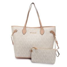 #17D Michael Kors Jet Set Signature Large White Tote