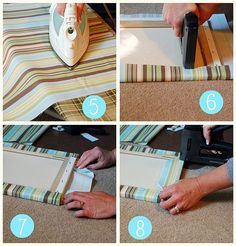 Easy Fabric Covered Canvas Wall Art. Would be good for fabric remnants.                                                                                                                                                      More