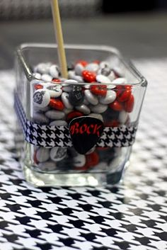 party like a rockstar, love the guitar pick and ribbon around the candy dish...