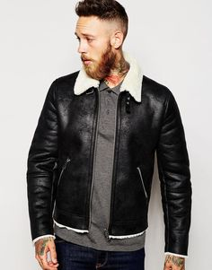 ASOS Faux Suede Harrington With Shearling Collar In Black