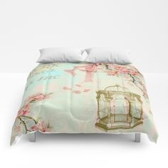 #homesweethome #watercolor #vintage #drawing #painting #pink #flowers #floral #girly #pretty #nature available in different #homedecor products. Check more at society6.com/julianarw #comforters