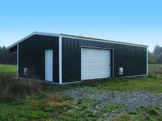 Green field steel shed.
