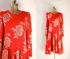 Vintage 1980's  Sweater Dress Red and Silver by PomegranateVintage, $53.00