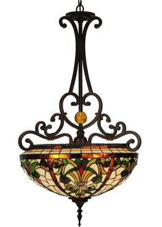 Description: If your pendant isn't Baroque, you may want to replaceit with this intricately designed inverted fixture.This Nouveau masterpiece exudes a decidedly lifelikeaura with curved designs that grab your attention. Thisexquisite stained glass shade incorporates lifeaffirming Mother Earth tones of Sandy Beige, Honey Goldand Jungle Green. The repeating design is bordered byRoot Beer colored glass edges and the sturdy decorativehardware is hand finished in a handsome MahoganyBronze. Scarlet R Motif Design, Border Design, Flower Art Images, Baroque Decor, Paisley Art, Black Gold Jewelry, Stained Glass Lamps, Gold Work, Album Design