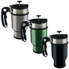 Versatile and convenient, the innovative 14-oz. Double Shot French Press Travel Mug serves as a handy French press and portable travel mug. Plus, it even has a twist-in canister at the bottom of the mug for storing an extra shot of coffee, tea or cocoa.