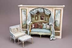 Miniature blue hand-painted silk upholstered French furniture in alcove, with hand-painted medallions of a French scene on silk taffeta, by Maritza Moran. Miniature Rooms, Miniature Houses, Miniature Furniture, Dollhouse Furniture, Diy Dollhouse, Dollhouse Miniatures, Shabby Chic Furniture, French Furniture, Farmhouse Furniture