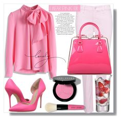 """""""I wear pink for....."""" by din-fashion ❤ liked on Polyvore featuring NYDJ, Chicwish, Kurt Geiger and Bobbi Brown Cosmetics"""
