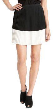 Vince Camuto Colorblock Crystal Pleated Mini Skirt Black White