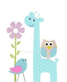 Kids Wall Art, Nursery Art, Baby Room Decor, Birds, Giraffe, Owl,  Flowers, Aqua, Pink, Pretty Flower, 8x10 Print