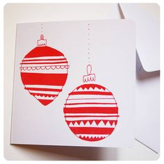 screen printed 'baubles' christmas card by kayleigh o'mara illustration & crafts | notonthehighstreet.com