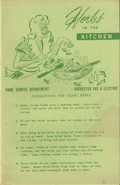 Herbs in the Kitchen by Rochester Gas and @thecollectiblechest #vintagekitchen #herbs #ephemera