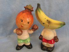 Vintage Napco Pineapple n Banana Boxers Salt and Pepper Shakers