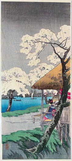 Sudden Spring Rain at Sumida-gawa  Takahashi Shōtei (1871-1945)