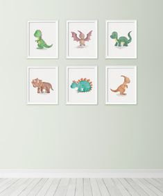 Dinosaur print set - Boys nursery decor - Cute dinosaur prints - Watercolor prints - Nursery decor - Printable boys gift - Dinosaur artwork by kiwiNberries on Etsy https://www.etsy.com/listing/464787495/dinosaur-print-set-boys-nursery-decor