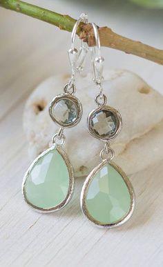 Mint Teardrop and Charcoal Jewel Drop Earrings