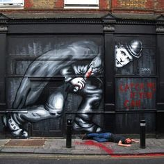"""Jack The Ripper"" Street art in Whitechapel, London, UK, by artist Zabou. Graffiti Art, Street Art Banksy, 3d Street Art, Urban Street Art, Best Street Art, Amazing Street Art, Street Artists, Urban Art, Amazing Art"