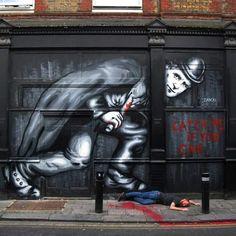 """""""Jack The Ripper"""" Street art in Whitechapel, London, UK, by artist Zabou. Street Art Banksy, 3d Street Art, Urban Street Art, Best Street Art, Amazing Street Art, Street Artists, Graffiti Art, Urban Art, Amazing Art"""