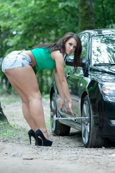 """Audrey with enhanced thick legs ! """"I don't need any jack ! I'm an Absolute Woman, I'm strong enough to lift this car with my bare hands !"""""""