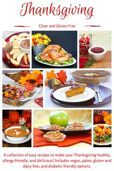 Gluten Free Thanksgiving!  This is a collection of recipes that are gluten free and diabetic friendly.  Most are also dairy free and Paleo.  Some are vegan.  For more healthy ideas follow me on Pinterest and subscribe to my blog at this link! #healthythanksgiving