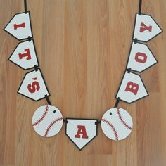 Baseball Its a Boy Banner - Baseball theme - Baseball Baby Shower - Baseball decoration - Sports Baby Shower - Laser cut  ***This item is MADE TO ORDER and ships in 3-5 business days from purchase***  This Baseball theme Its a Boy Banner is perfect for your baseball or sports themed baby shower. It is laser cut from black or navy, red, and white card stock and strung together with black or navy grosgrain ribbon. The baseballs separating the words measure 5 in diameter and each home plate is…