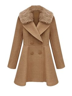 Winter Tight Waist Double-Breasted Woolen Collar Coat