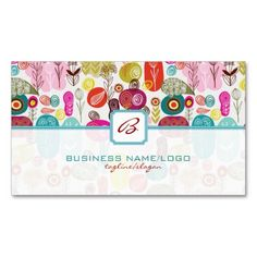 Colorful Simple Hand Drawn Retro Flowers-Monograme Business Card Template. I love this design! It is available for customization or ready to buy as is. All you need is to add your business info to this template then place the order. It will ship within 24 hours. Just click the image to make your own!