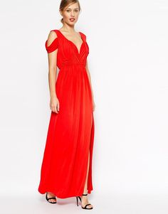ASOS | ASOS Drape Cold Shoulder Maxi Dress at ASOS