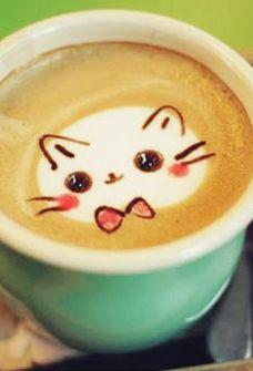 Cute Cat Latte Art!!                                                                                                                                                      More