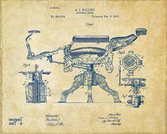 1891 Barbers Chair Patent Artwork Vintage Drawing