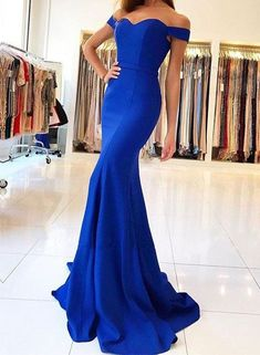 Sexy Mermaid Royal Blue Prom Dress,Sweep Train Long Evening Dress,Mermaid Evening Dresses