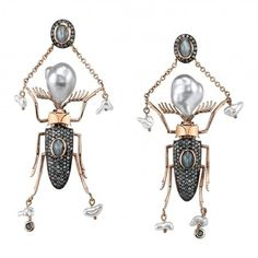 Daniela Villegas The Twins Beetle Earrings ($18,975) ❤ liked on Polyvore featuring jewelry, earrings, pearl jewellery, earring jewelry, pearl earrings, white pearl earrings and cats eye jewelry