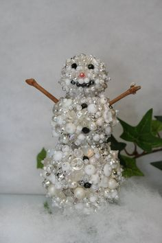 Beaded Snowman Holiday Decoration  Handmade by ClassicStyleDesigns, $65.00
