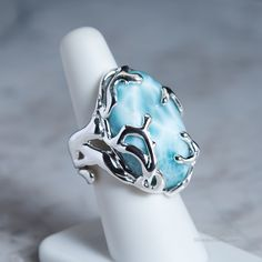 Spirit of the Water - Larimar Ring - Luxury designer rings, hand crafted to highlight the beauty of each stone. I Love Jewelry, Jewelry Art, Jewelry Rings, Jewelry Accessories, Fine Jewelry, Jewelry Design, Jewlery, Turquoise Jewelry, Silver Jewelry