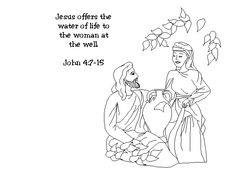 Samaritan women at the well/ color page | Samaritan+woman+at+the+well+coloring+page