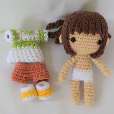 Note: This listing is for a crochet pattern only - it is not the finished doll! This pattern is available only in English for now.  Chihiro is inspired by the movie Spirited Away and is crocheted from the bottom of her feet to the top of her head as almost one piece, the arms are