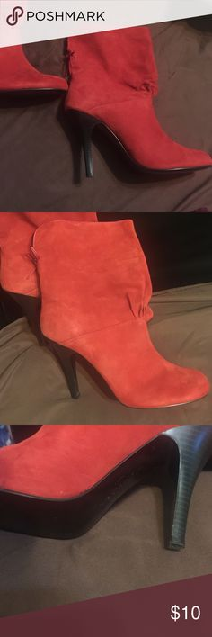 Rampage Faux suede red boots Leather upper balance. Cute ankle boots with bow. Very good condition. Rampage Shoes Heeled Boots