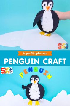 This penguin craft is a super simple cut and paste project, perfect for little ones developing their fine motor skills with some help from a grown up. We use a cotton ball to stamp the paint onto our penguin instead of a paint brush for some extra fun and to make it easier for little hands. We've also attached a little flap handle to the back of our penguin, so it can move too! Kids Crafts, Craft Projects For Kids, Craft Activities For Kids, Preschool Crafts, Art Projects, Weather Crafts, Kids Stamps, Penguin Craft, Crafty Kids