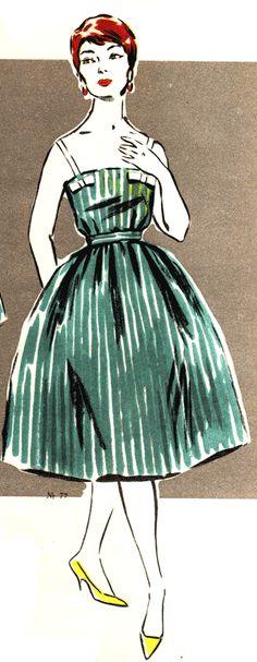 Сарафан и кофточка с бантиками, мода 1960 год