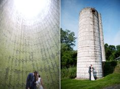 awesome shot inside the silo at The Barn at Perona Farms, a rustic wedding location