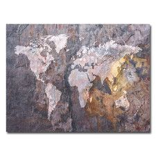 """World Map - Rock"" by Michael Tompsett Graphic Art on Wrapped Canvas"