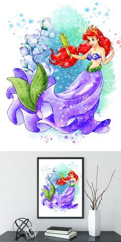 Little Mermaid Print, Ariel Watercolor Art, Ariel Disney Poster, Baby Wall Decor, Giclee Art Poster, Ariel Printable, Wall Decor Ariel Disney, Disney Art, Disney Posters, Disney Cartoons, Watercolor Disney, Watercolor Art, Goth Disney Princesses, Disney Villains, Disney Princess Tattoo